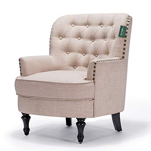 Accent Chair Morden Fort Armchair For Living RoomBedroomHome Decoration Beige Linen 0 1