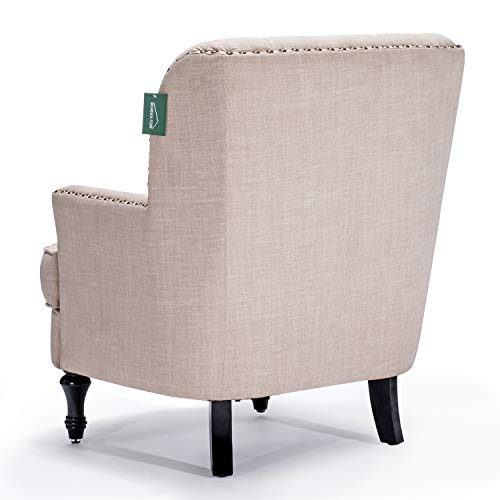 Accent Chair Morden Fort Armchair For Living RoomBedroomHome Decoration Beige Linen 0 3