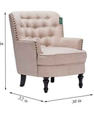 Accent Chair Morden Fort Armchair For Living RoomBedroomHome Decoration Beige Linen 0 4 300x360