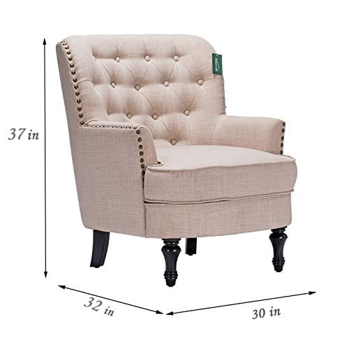 Accent Chair Morden Fort Armchair For Living RoomBedroomHome Decoration Beige Linen 0 4