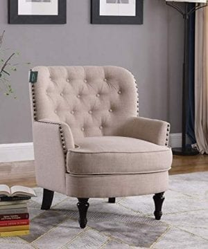 Accent Chair Morden Fort Armchair For Living RoomBedroomHome Decoration Beige Linen 0 5 300x360