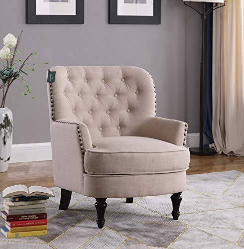 Accent Chair Morden Fort Armchair For Living Room Bedroom Home Decoration Beige Linen Farmhouse Goals