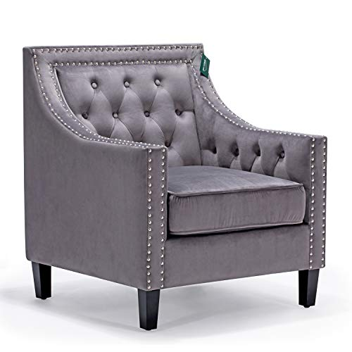Incredible Accent Chair Morden Fort Sofa Chair For Living Room Bedroom Home Decoration Grey Velet Machost Co Dining Chair Design Ideas Machostcouk