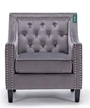 Accent Chair Morden Fort Sofa Chair For Living RoomBedroomHome Decoration Grey Velet 0 300x360