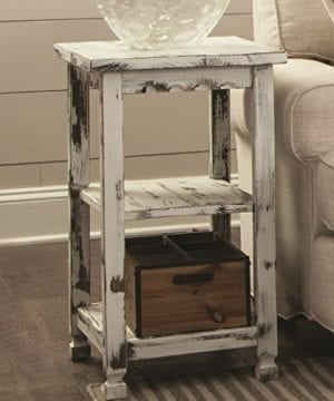 Alaterre ACCA02WA Rustic End Table White Antique 0 0 300x360