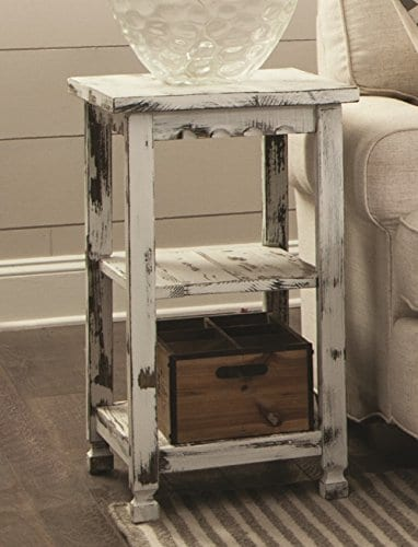 Alaterre ACCA02WA Rustic End Table White Antique 0 0