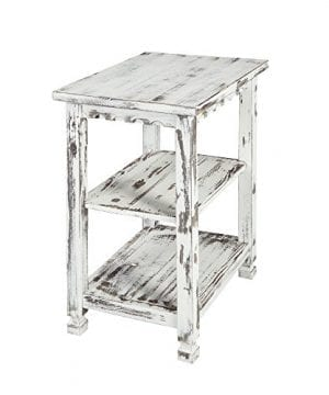 Alaterre ACCA02WA Rustic End Table White Antique 0 300x360