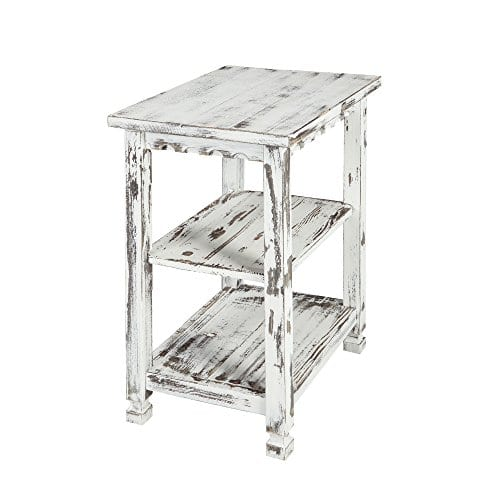 Alaterre ACCA02WA Rustic End Table White Antique 0