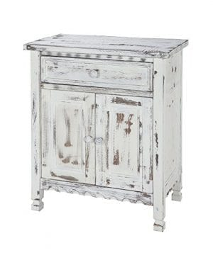Alaterre ACCA23WA Rustic Cottage Accent Cabinet White Antique 0 300x360