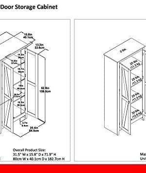 Ameriwood Home 7532096COM Farmington Wide Storage Cabinet 315 Rustic 0 3 300x355