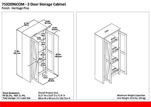 Ameriwood Home 7532096COM Farmington Wide Storage Cabinet 315 Rustic 0 3