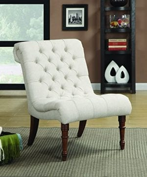 Armless Curved Accent Chair Oatmeal 0 300x360