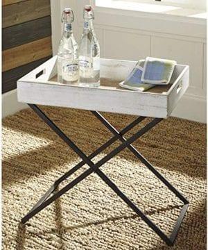 Ashley Furniture Signature Design Janfield Tray Accent Table Vintage Antique White Wood Top Antique Black Metal Base 0 0 300x360