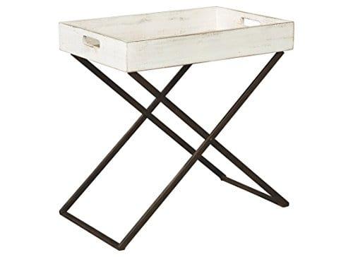 Ashley Furniture Signature Design Janfield Tray Accent Table Vintage Antique White Wood Top Antique Black Metal Base 0