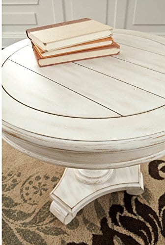 Ashley Furniture Signature Design Mirimyn End Table Cottage Style Accent Table Chipped White 0 1