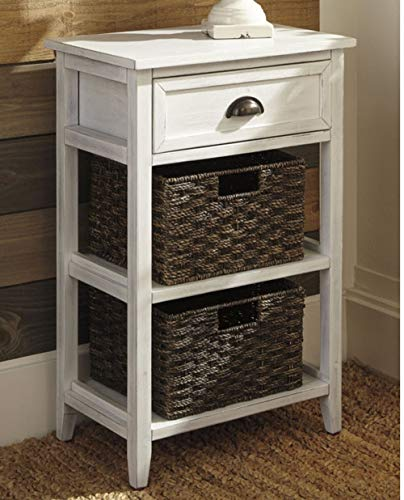 Ashley Furniture Signature Design Oslember Storage Accent Table Includes 2 Brown Removable Baskets Antique White Finish 0 0