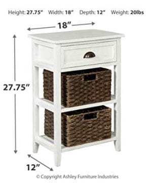 Ashley Furniture Signature Design Oslember Storage Accent Table Includes 2 Brown Removable Baskets Antique White Finish 0 2 300x360