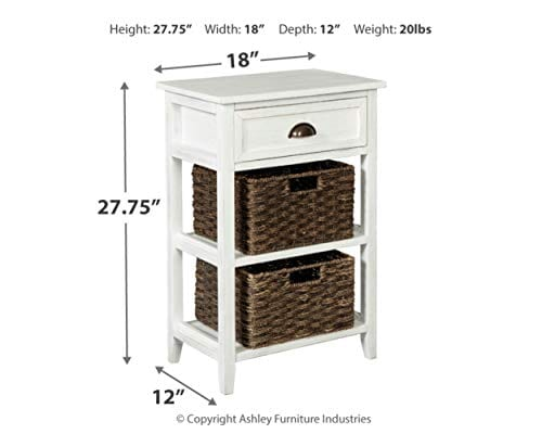 Ashley Furniture Signature Design Oslember Storage Accent Table Includes 2 Brown Removable Baskets Antique White Finish 0 2