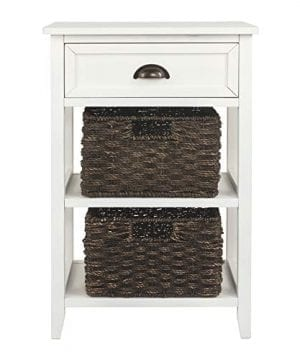 Ashley Furniture Signature Design Oslember Storage Accent Table Includes 2 Brown Removable Baskets Antique White Finish 0 4 300x360
