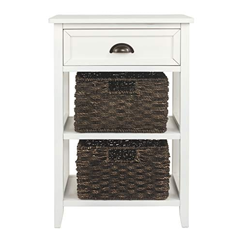 Ashley Furniture Signature Design Oslember Storage Accent Table Includes 2 Brown Removable Baskets Antique White Finish 0 4