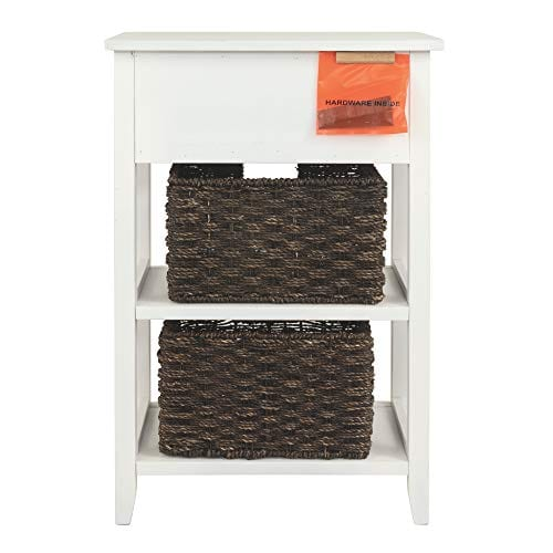 Ashley Furniture Signature Design Oslember Storage Accent Table Includes 2 Brown Removable Baskets Antique White Finish 0 5