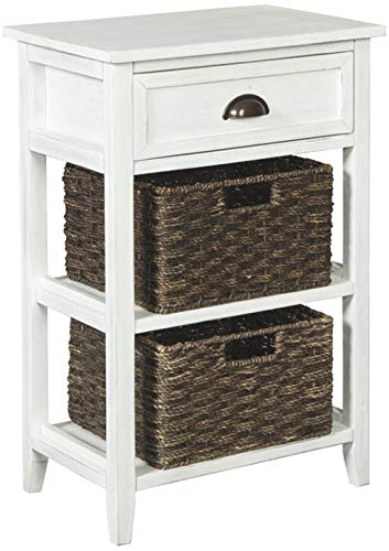 Ashley Furniture Signature Design Oslember Storage Accent Table Includes 2 Brown Removable Baskets Antique White Finish 0