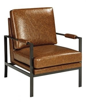 Ashley Furniture Signature Design Peacemaker Accent Chair Mid Century Modern Brown Antique Brass Legs 0 300x360