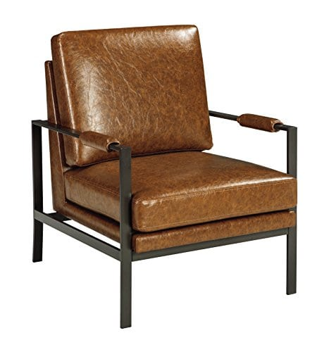 Modern Formal Living Room, Signature Design By Ashley Peacemaker Accent Chair Faux Leather Modern Brown Farmhouse Goals