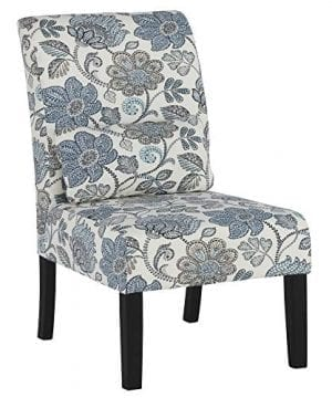 Ashley Furniture Signature Design Sesto Accent Chair W Pillow Contemporary Floral Pattern In Shades Of BlueCream Black Finish Legs 0 300x360