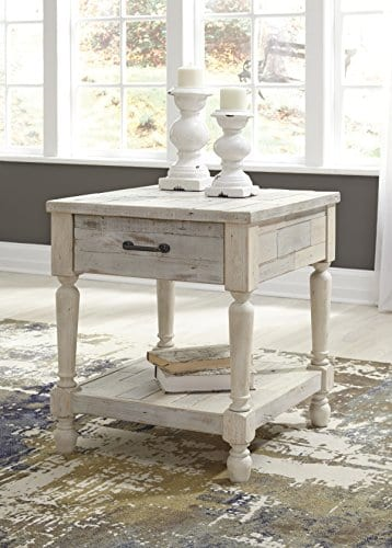 Ashley Furniture Signature Design Shawnalore Casual Rectangular End Table With Storage White Wash 0 0