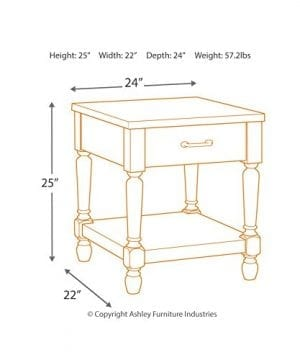 Ashley Furniture Signature Design Shawnalore Casual Rectangular End Table With Storage White Wash 0 2 300x360