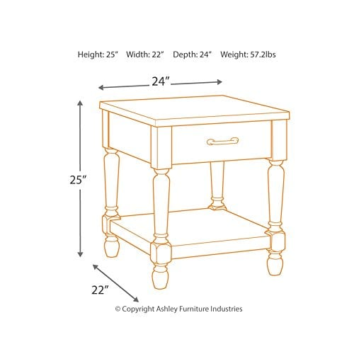 Ashley Furniture Signature Design Shawnalore Casual Rectangular End Table With Storage White Wash 0 2
