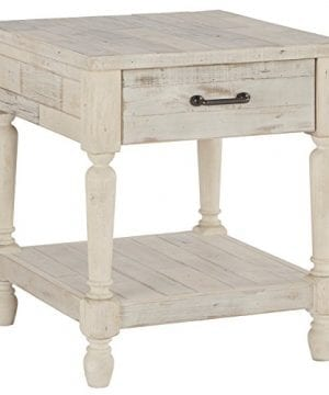 Ashley Furniture Signature Design Shawnalore Casual Rectangular End Table With Storage White Wash 0 300x360