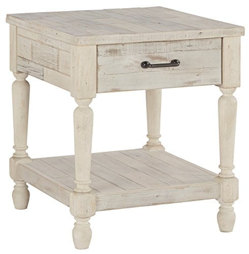Ashley Furniture Signature Design Shawnalore Casual Rectangular End Table With Storage White Wash 0