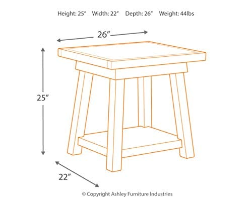 Ashley Furniture Signature Design Stowbranner Casual Rectangular End Table Two Tone White And Brown 0 2