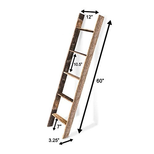 BarnwoodUSA Rustic Farmhouse Blanket Ladder Our 5 Ft Ladder Can Be Mounted Horizontally Or Vertically And Is Crafted From 100 Recycled And Reclaimed Wood No Assembly Required 0 3