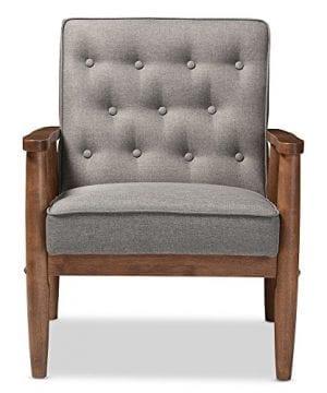 Baxton Studio Sorrento Mid Century Retro Modern Fabric Upholstered Wooden Lounge Chair Grey 0 0 300x360