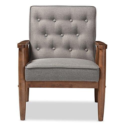 Baxton Studio Sorrento Mid Century Retro Modern Fabric Upholstered Wooden Lounge Chair Grey 0 0