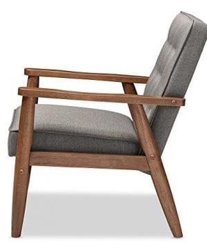 Baxton Studio Sorrento Mid Century Retro Modern Fabric Upholstered Wooden Lounge Chair Grey 0 1 300x360
