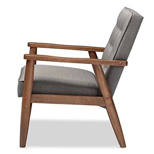 Baxton Studio Sorrento Mid Century Retro Modern Fabric Upholstered Wooden Lounge Chair Grey 0 1