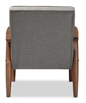 Baxton Studio Sorrento Mid Century Retro Modern Fabric Upholstered Wooden Lounge Chair Grey 0 2 300x360