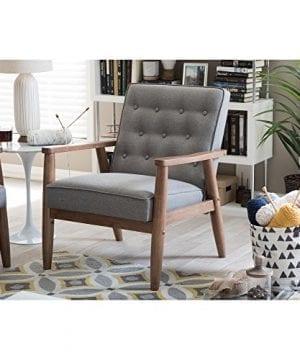 Baxton Studio Sorrento Mid Century Retro Modern Fabric Upholstered Wooden Lounge Chair Grey 0 3 300x360