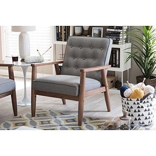 Baxton Studio Sorrento Mid Century Retro Modern Fabric Upholstered Wooden Lounge Chair Grey 0 3