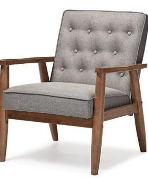 Baxton Studio Sorrento Mid Century Retro Modern Fabric Upholstered Wooden Lounge Chair Grey 0 300x360