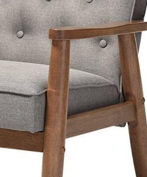 Baxton Studio Sorrento Mid Century Retro Modern Fabric Upholstered Wooden Lounge Chair Grey 0 4 300x360