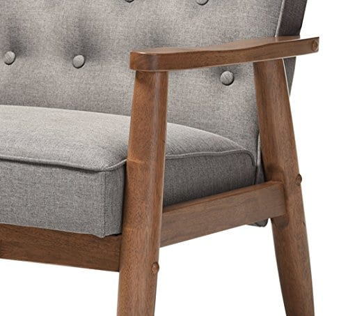 Baxton Studio Sorrento Mid Century Retro Modern Fabric Upholstered Wooden Lounge Chair Grey 0 4