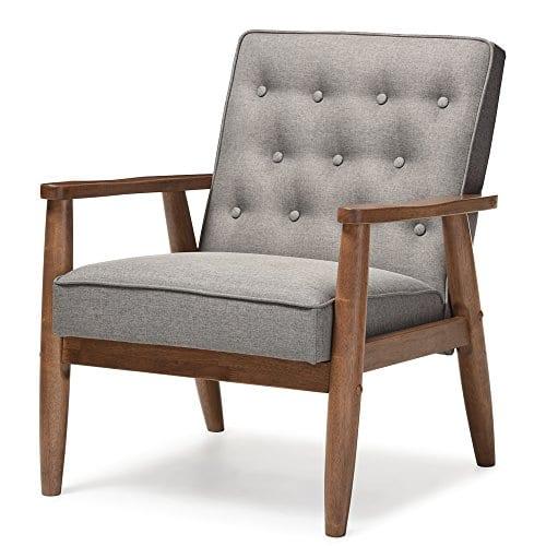 Baxton Studio Sorrento Mid Century Retro Modern Fabric Upholstered Wooden Lounge Chair Grey 0