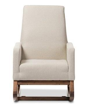 Baxton Studio Yashiya Mid Century Retro Modern Fabric Upholstered Rocking Chair Light Beige 0 0 300x360