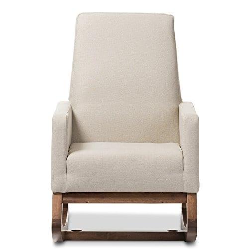 Baxton Studio Yashiya Mid Century Retro Modern Fabric Upholstered Rocking Chair Light Beige 0 0