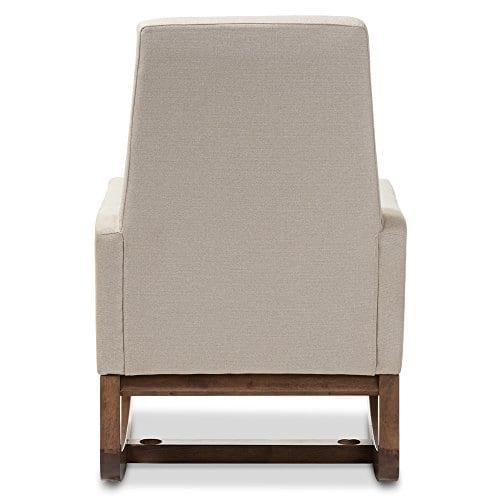Baxton Studio Yashiya Mid Century Retro Modern Fabric Upholstered Rocking Chair Light Beige 0 2